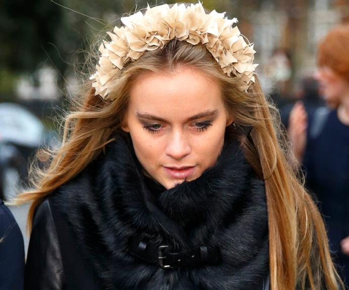 Cressida Bonas might not be a Princess but she sure looks the part with this very pretty head piece.