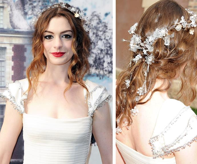 Anne Hathaway or a Disney Princess? Either way this head piece is breath-takingly beautiful.