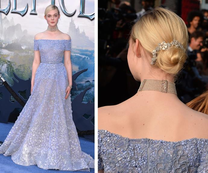The actress was so inspired by her love of flowers, she opted for a bejeweled floral bun. Simple, class and perfect.