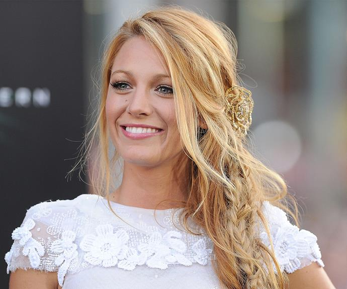 Blake Lively livens up her mermaid braid with a generous dose of sparkle.