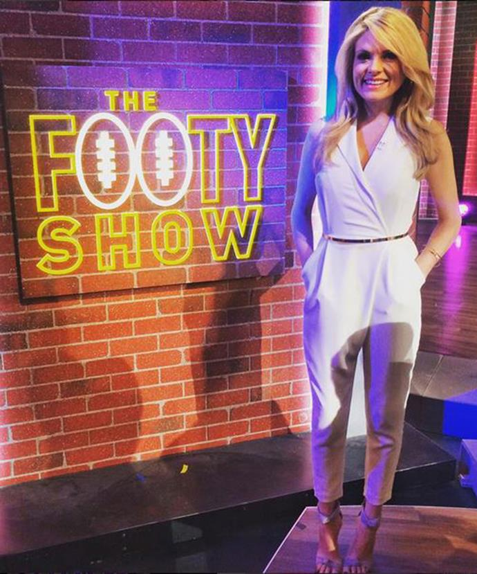 Popular presenter Erin has been on *The Footy Show* since 2012.