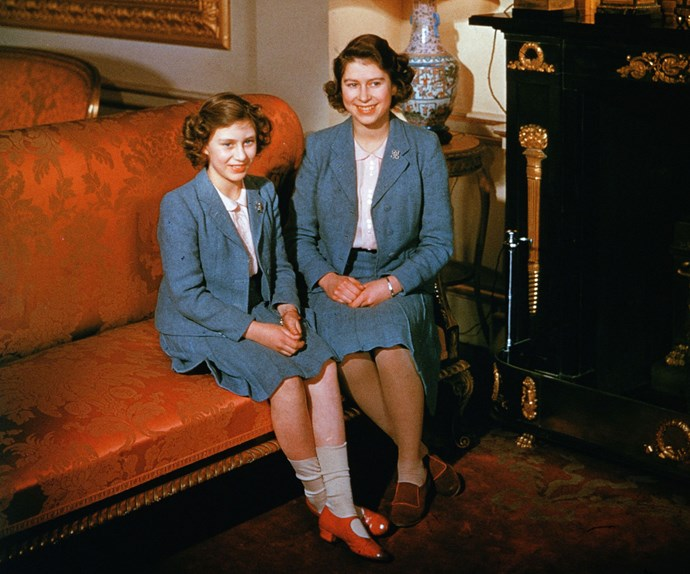 The heir and the spare: Born in August, 1930, The Queen's younger sister Princess Margaret (L), Countess of Snowdon, was well-known for her irreverent approach to life. Here, the young princesses pose in matching outfits at Buckingham Palace in 1942.