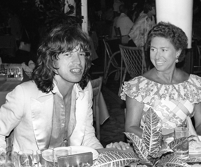 """It's long been rumoured the Queen's younger sister had an affair with Rolling Stones frontman, Mick Jagger. """"She found him sexy and exciting. If you saw them laughing together, dancing, the way she'd put her hand on his knee and giggle at his stories like a schoolgirl, you'd have thought there was something going on,"""" a courtier explained in *The Wild Life And Mad Genius Of Mick Jagger* by Christopher Andersen."""