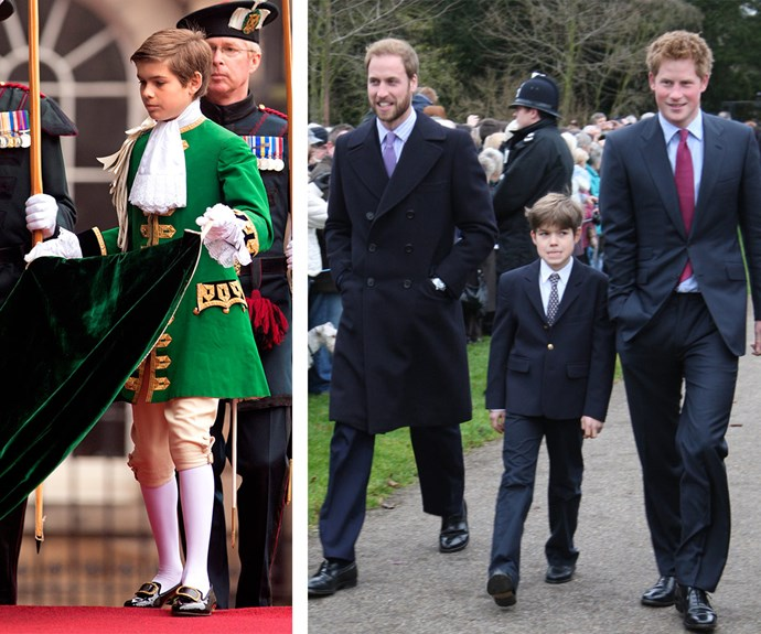 Unlike his first cousins, Arthur enjoys a more low-key life away from royal duties. However in 2006 he acted as a page (L) when William was installed as a knight of the Thistle. And in 2008 (R) he joined his famous family for their traditional church service in Sandringham.