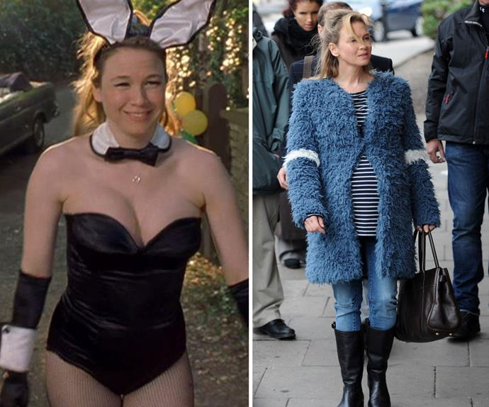 My, how you've changed. Long gone are the days of Bridget's tight-fitting bunny costume, instead for the third film she stepped out in a furry jacket while sporting a very noticeable baby bump.