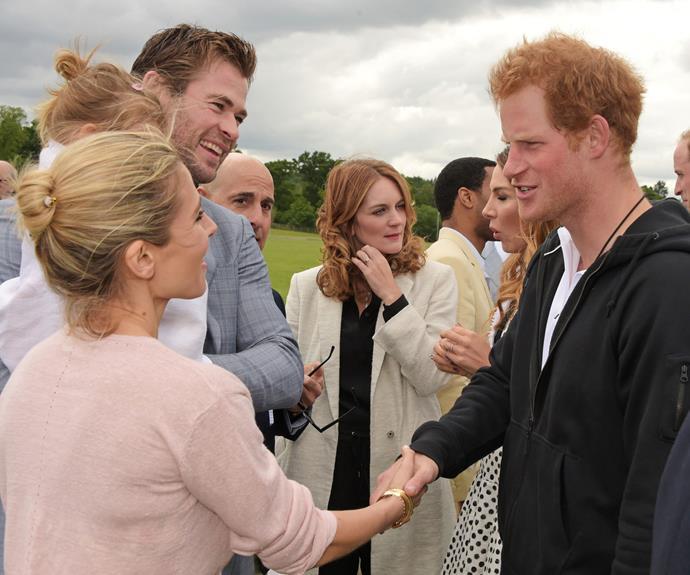 Oh you know, just a cheeky snap of Chris [catching up with Prince Harry](http://www.womansday.com.au/royals/british-royal-family/prince-harry-and-william-have-a-blast-with-hollywood-a-listers-at-the-polo-12734) with his wife and baby daughter.