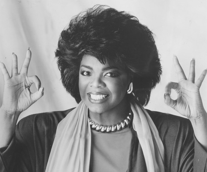 Before Oprah was Oprah, she rocked this very voluminous 'do in 1978, complete with flicks and pearls.