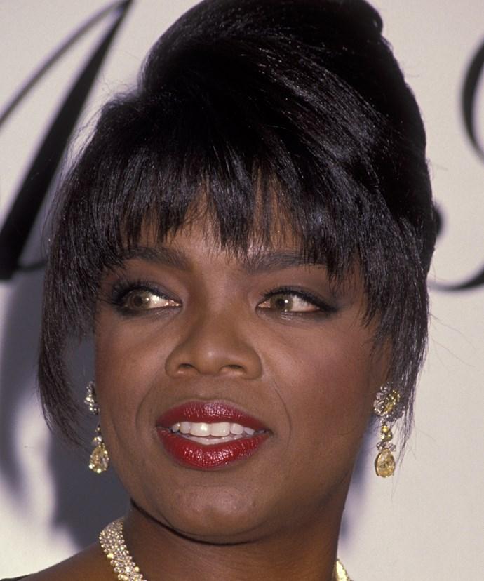 Fringen' fabulous! Oprah wore this classic updo in 1991.