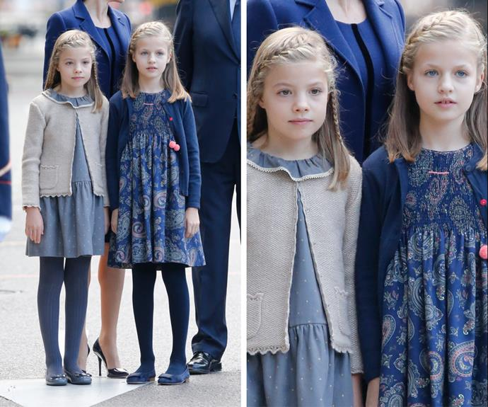 Sweet! Princess Leonor, the heir to the throne, and her little sister, Infanta Sofia, looked gorgeous in smocked dresses with cardigans.