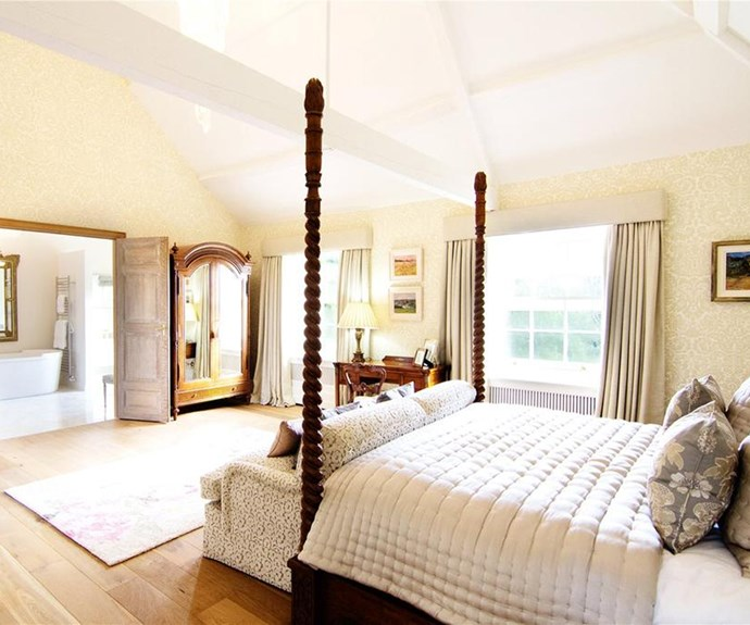 Sweeping views of the lush English countryside can be seen from the master bedroom.