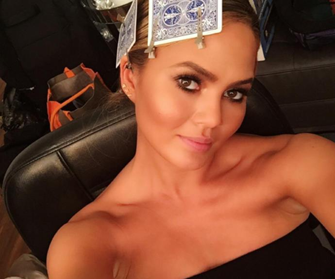Posting this behind-the-scenes selfie from her make-up chair, Chrissy confimed one of our suspicions - yep, she's glowing!