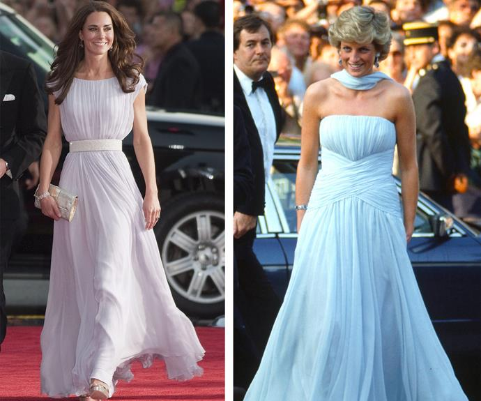 Strike a pose: Diana and Catherine bring Hollywood glamour in these radiant chiffon frocks.