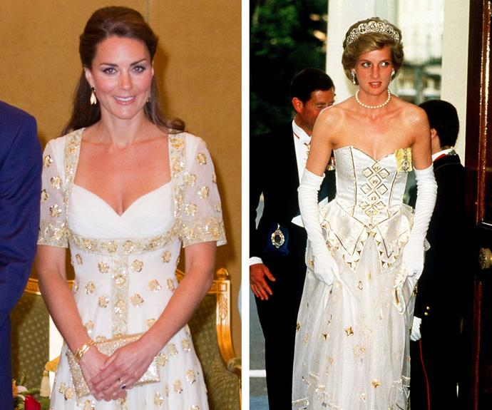 While she didn't wear something from Diana's collection, Catherine regularly pays style tribute to her late mother-in-law.  In 2012, Catherine channeled Diana's 1986 Emanuels' gown.