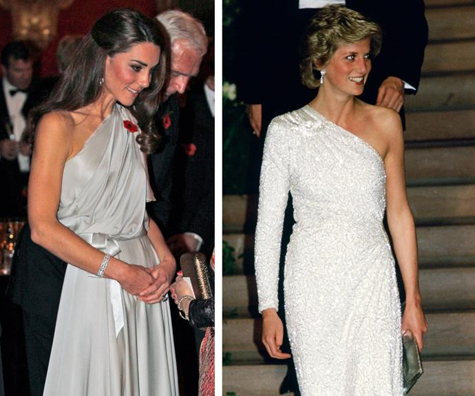 Prince William's leading ladies both dazzle with one-shouldered frocks.
