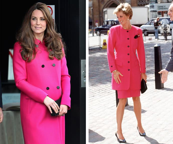 Talk about being bold! Catherine and Diana are effortless in their fitted hot pink coats. The black buttons are a delightful contrast.