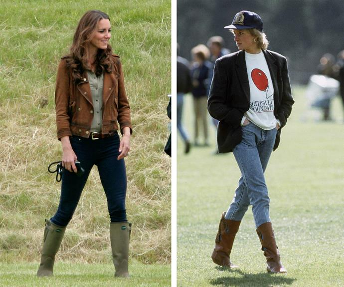Diana and the Duchess have polo chic down pat. Diana is the original hipster with her acid wash jeans, jumper and blazer combo, completed with a cap, while Catherine oozes cool in her wellies, fitted jeans and khaki coat.