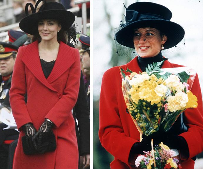 One of Duchess Catherine's most poetic tributes to Princess Diana. When she was still known as Prince William's girlfriend, Kate Middleton took a style note out of Diana's book, replicating her 1993 Christmas outfit.