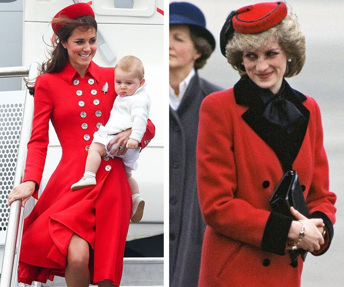 Ladies in red! The royal women know how to handle their tarmac fashion choices - not that Prince George seems even vaguely impressed by mum's sartorial choice.