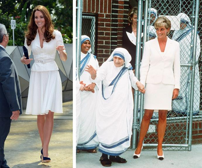 Princess Diana single-handedly curated the white power suit of the nineties - famously wearing this two piece in 1997.  Catherine famously revived the style during her 2012 tour of Singapore.