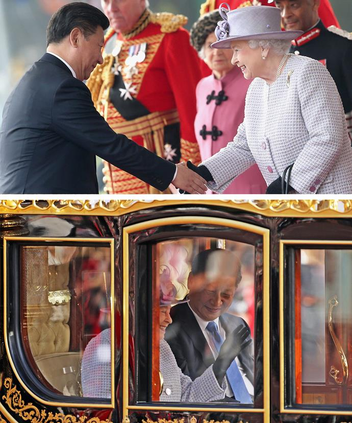 Her Majesty and President Xi Jinping were both all smiles during their catch-up.