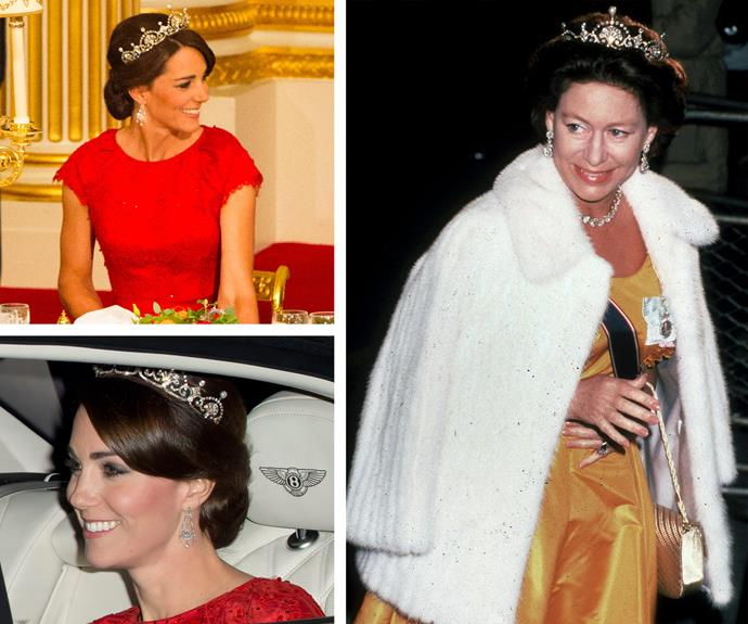 The 33-year-old's dazzling tiara was the talk of the night. The royal family's gorgeous Papyrus/Lotus Flower tiara was a personal favourite of Princess Margaret and owned by the Queen's Mother.