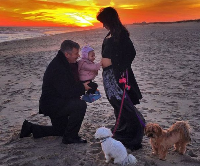 Nothing like a candid moment, on a beach, in front of a sunset! Hilaria Baldwin captured the moment with husband, Alec, and daughter, Carmen (and not to mention, their pooches)!
