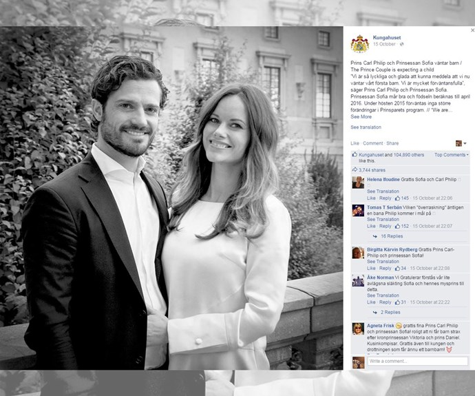 Princess Sofia and Prince Carl Philip of Sweden made their reveal a royal affair with this official announcement, along with a sweet photo of the couple.