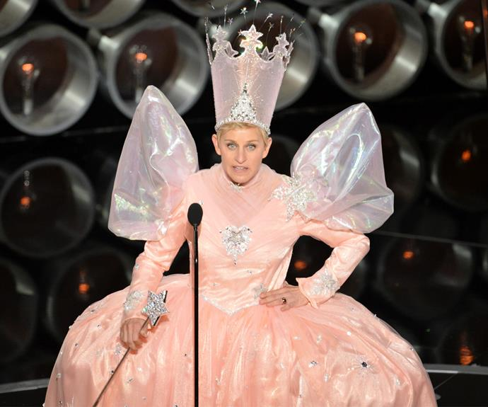 Ellen DeGeneres has seen the stage more than once in 2007 and 2014. Ellen will be remembered for her epic celebrity selfie, handing out pizzas to the crowd, and, of course, this fairy godmother outfit.