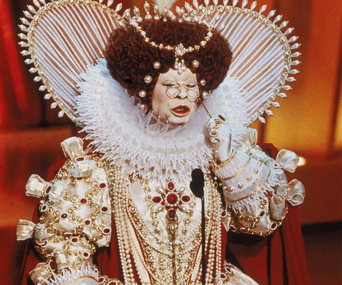 Your Majesty! One of her most memorable moments included this appearance in full Elizabethan dress as 'Queen Goldberg I'.