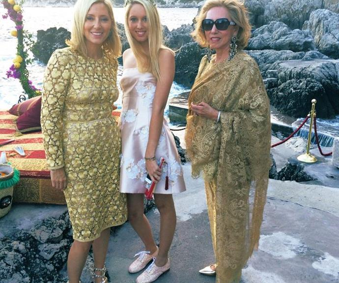 Princess Marie-Chantal of Greece (left) worked a Dolce & Gabbana gold lace dress.