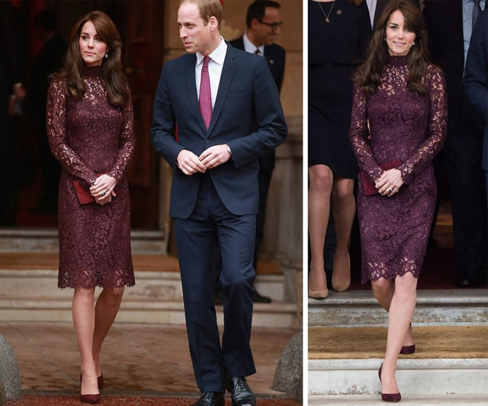 Duchess Catherine stepped out on Thursday in this burgundy Dolce and Gabbana dress with long sleeves and a high neck.