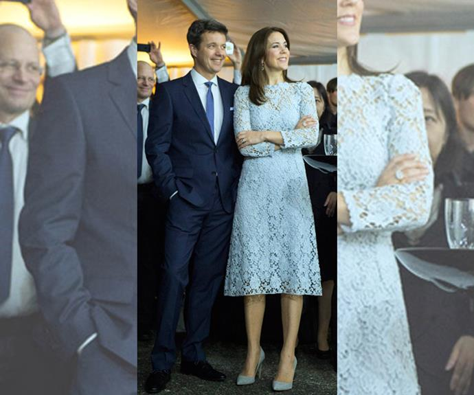 Did she take a leaf out of Princess Mary's book? Mary was spotted in a sky blue Dolce & Gabbana lace dress whilst on tour in Japan.