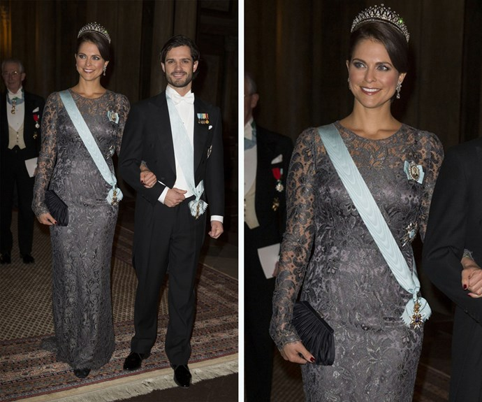 The ever stylish Princess Madeleine wore her D&G dress, this time full length, to the Nobel Laureate presentation in 2013.