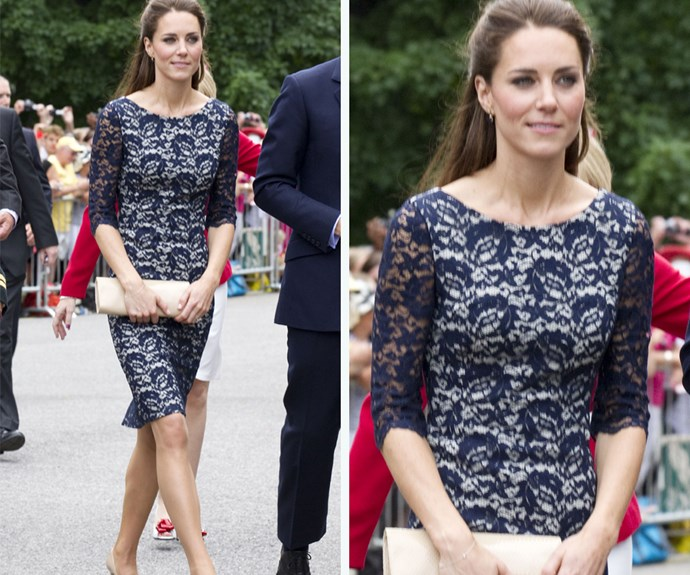 Duchess Catherine knows all about the lace dress! After her magnificent lace wedding dress, Catherine has stayed faithful to lace ever since. She wore this Erdem dress on tour in Canada.