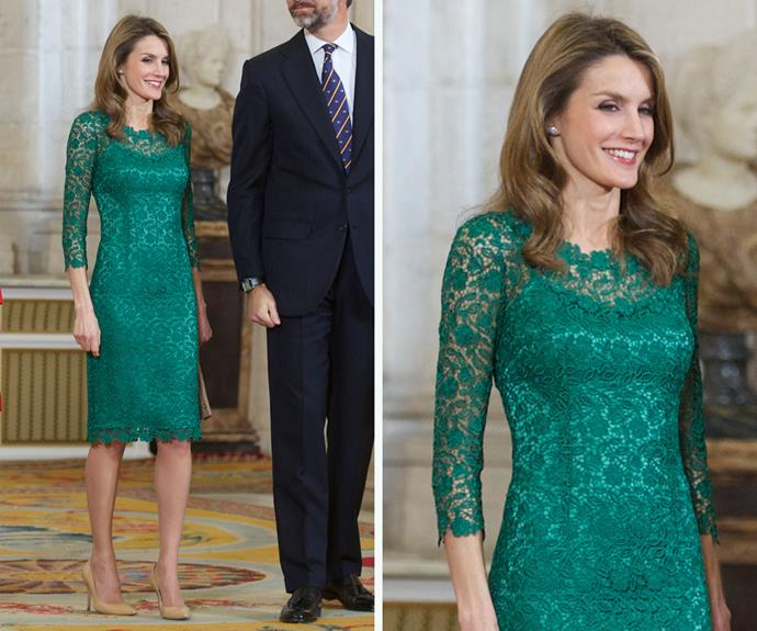 Queen Letizia is also a fan of the lace trend. She wore this Felipe Verla dress to a reception in 2013.