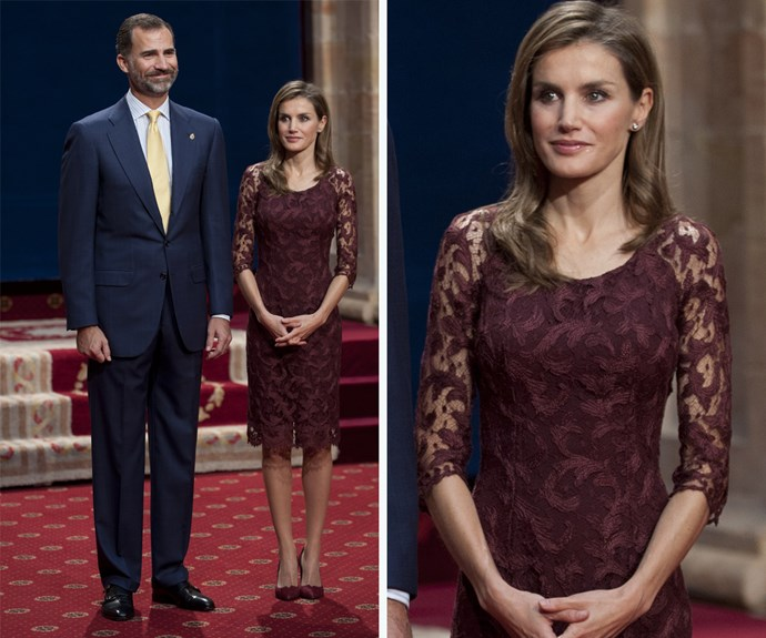 Is that a pattern we're seeing? Queen Letizia wore this burgundy dress in 2013.