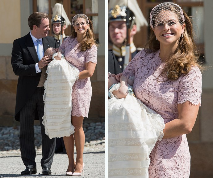 She dusted off this baby pink Valentino dress for the Christening of Princess Leonor.