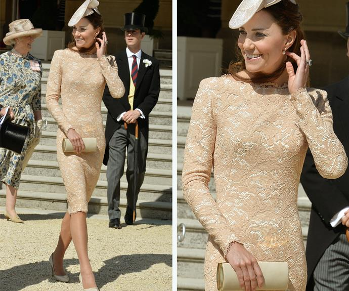 Case in point! Catherine wore this beige dress to a garden party at Buckingham Palace in 2014.