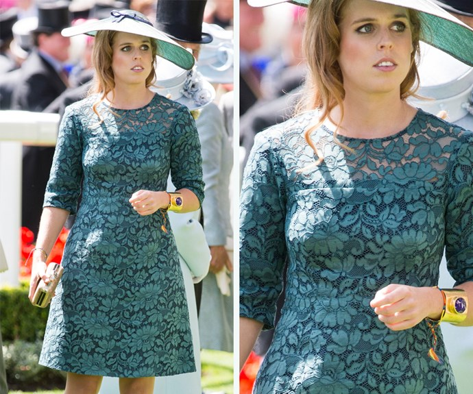 Princess Beatrice joined the family at Royal Ascot in 2014 wearing this teal-coloured lace dress.