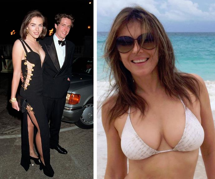 "She might be 50, but Liz looks just as good now as she did during her modelling heyday (pictured in her iconic Versace pin dress with Hugh Grant in 1994 on the left). The British bombshell, who recently stunned with the selfie on the right, credits her great physique to watching what she eats. ""If my jeans feel tight I try to cut back a bit,"" she told *Healthy Living* magazine."