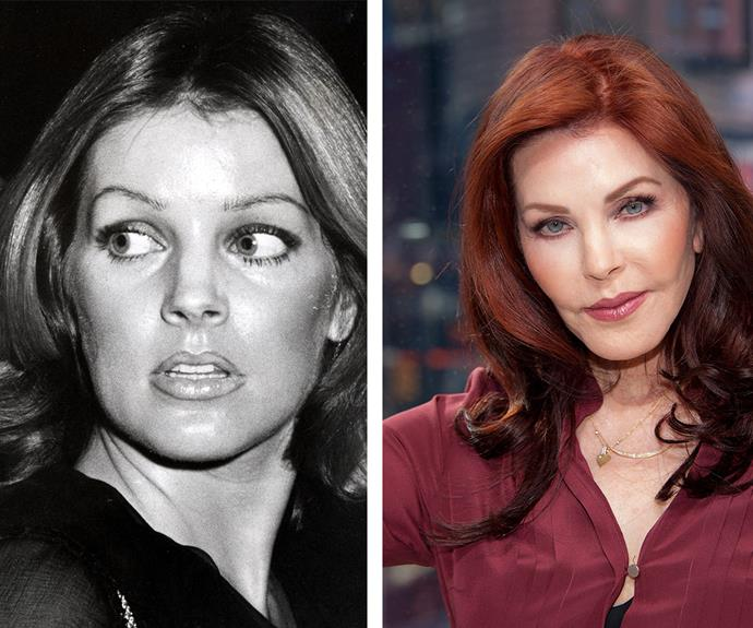 In 1976 Priscilla Presley (L) was a true beauty - it's little wonder she caught the eye of superstar Elvis Presley. Fast forward to the present day (R) and the Norway-born actress looks decades younger than her 70 years.