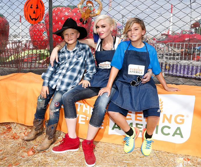 Gwen Stefani's sons, Zuma 6 and Kingston, 9, look all grown up! The rock chic and her boys had some pre-Halloween while volunteering at the Feeding America Holiday Harvest charity event.