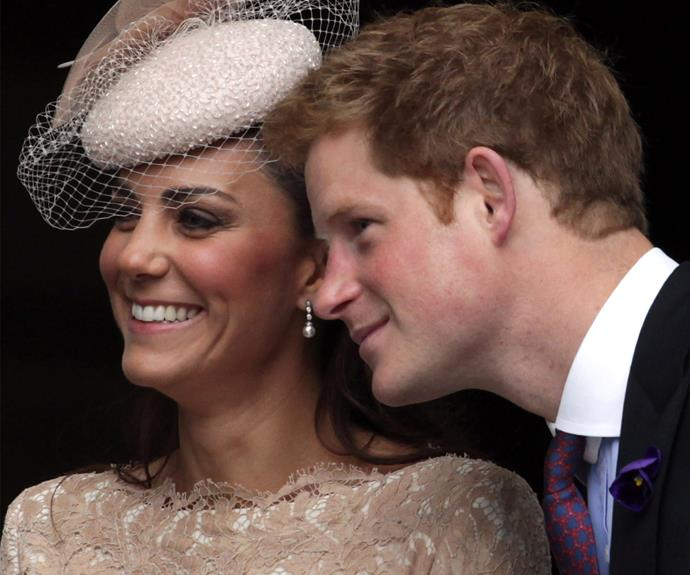 Duchess Catherine and Prince Harry share a special bond. The pair try to hide their laughter at the Thanksgiving service at St Paul's Cathedral back in 2012.