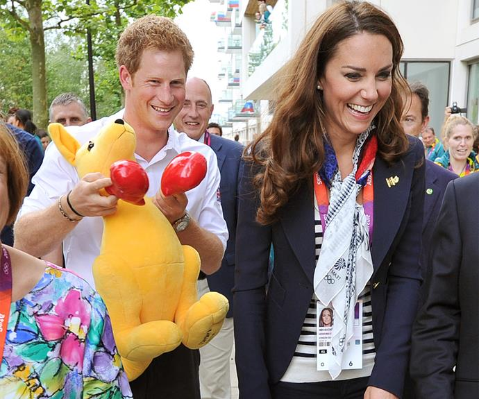 Harry and Kate lark about at the 2012 London Olympics with an Aussie mascot.