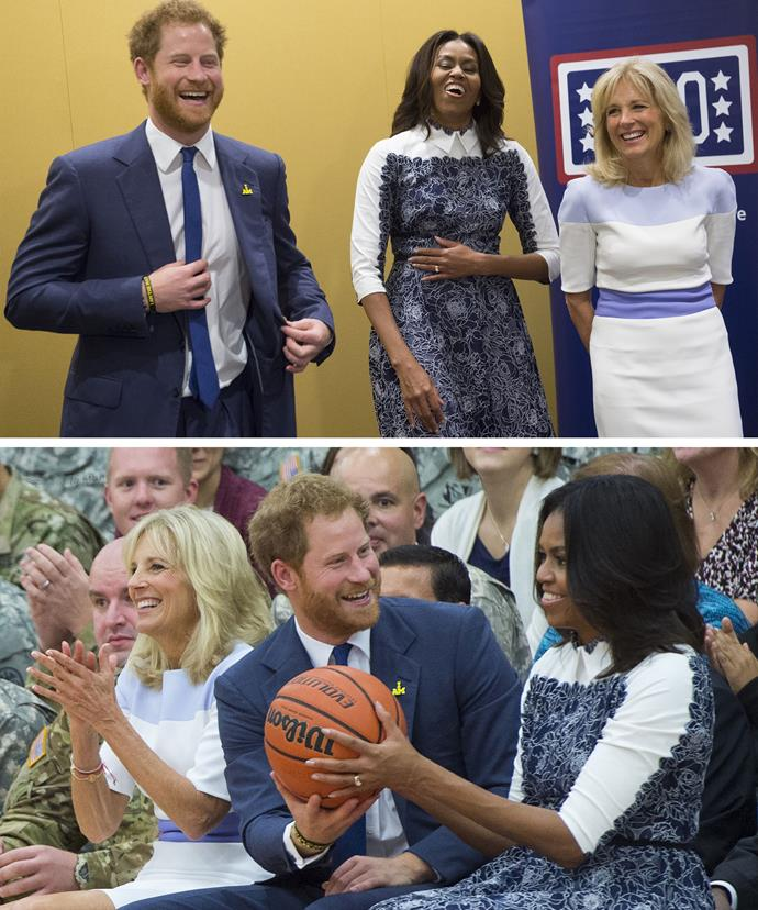 Prince Harry, Michelle Obama and Dr Jill Biden met with injured service men and women.
