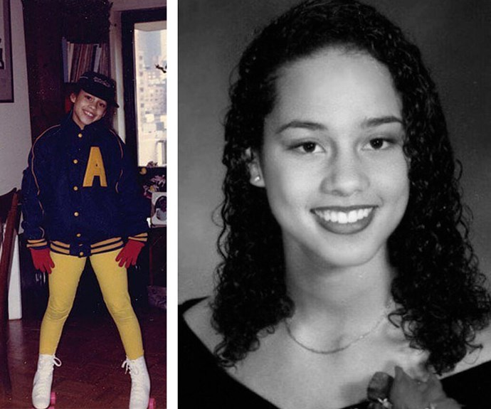 "Alicia Keys captioned the photo on the left, ""#tbt Circa 1992! Got my holiday fly on, rocking around the house with my new roller skates! Thank you, Mama for letting me."" The singer shared the image on the right with this inspiring message, ""In school I learned to NEVER let anyone tell me I couldn't achieve my dreams!"""