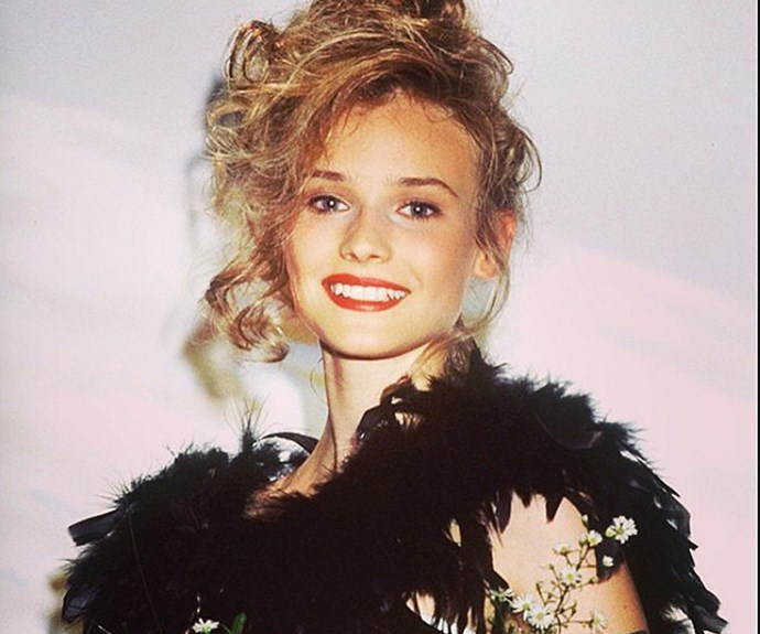 """Diane Kruger shared this brilliant insight to her teen years. """"This is me at 15, winning the 'Look of the Year modeling award in Germany'...HOW you might ask ? I really don't know . . . maybe that year baby face with too much make up and crooked teeth was in style ? Maybe they were playing a cruel joke on me ?? Whoever picked me . . . thanks for the Vespa I won and the life that opened up to me !!!! All you awkward looking girls out there !!!! SOMEONE thinks you're pretty !!!"""""""