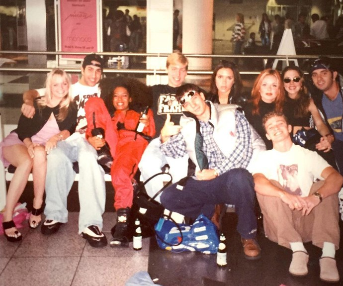 Now this is the perfectly synced flashback of when two fantastic music legends become one! Lance Bass from NSYNC shared this snap of his former band casually hanging out with the Spice Girls after they both released their first singles in the Nineties.