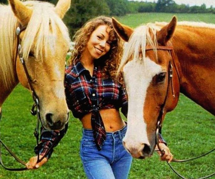 "We understand why James Packer is feeling such emotion for the honey diva, Mariah Carey. The songstress shared this cute throwback with the fitting caption, ""Horsing around."""