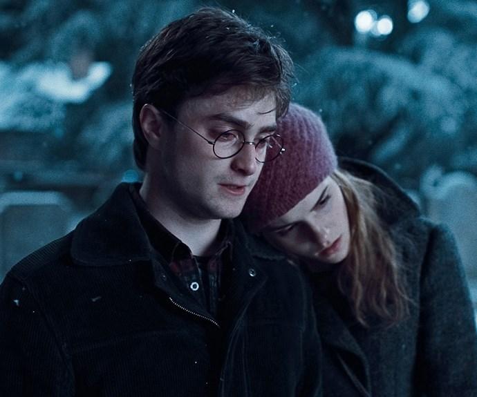 Hermione with her bestie, Harry Potter.